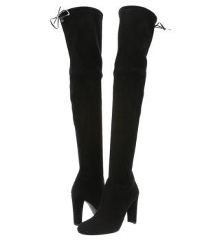 Stuart Weitzman Highland Boots in Black Suede